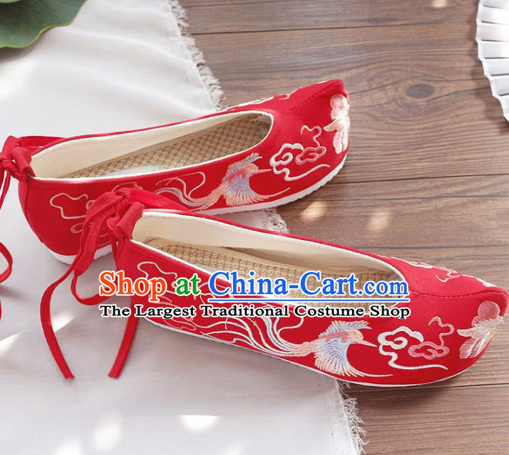 Traditional Chinese Embroidered Cloud Phoenix Red Shoes Handmade Cloth Shoes National Cloth Shoes for Women