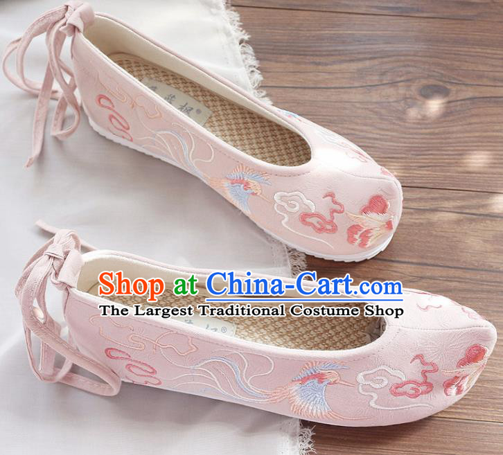 Traditional Chinese Embroidered Cloud Phoenix Pink Shoes Handmade Cloth Shoes National Cloth Shoes for Women