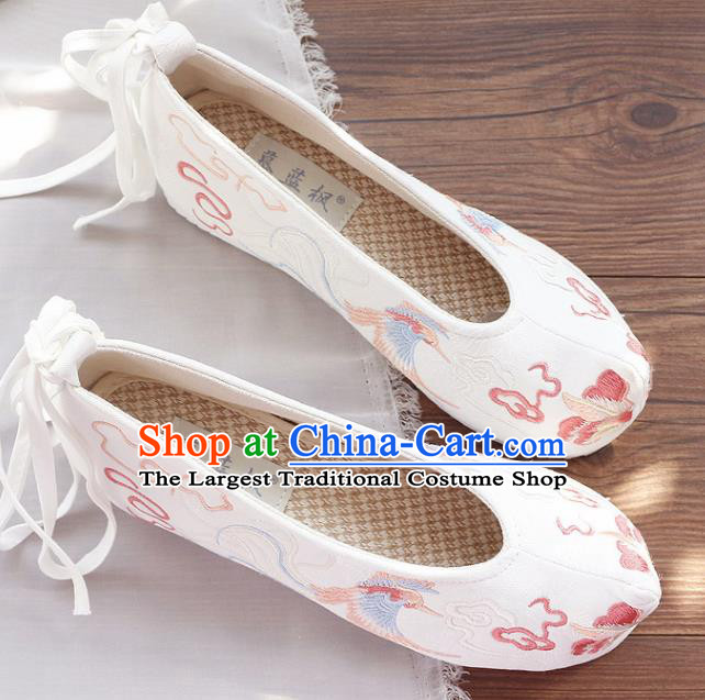 Traditional Chinese Embroidered Cloud Phoenix White Shoes Handmade Cloth Shoes National Cloth Shoes for Women