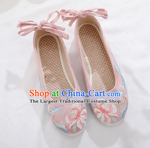 Traditional Chinese Embroidered Peony Butterfly Pink Shoes Handmade Cloth Shoes National Cloth Shoes for Women