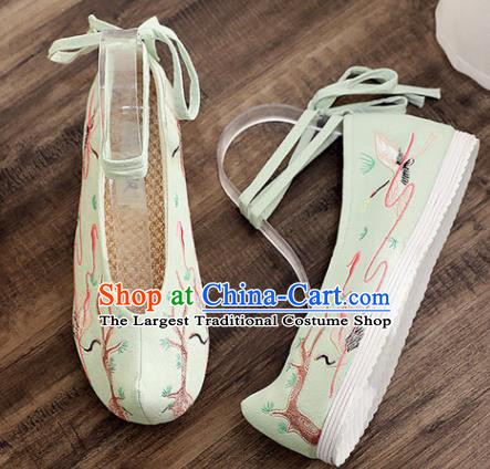 Traditional Chinese Embroidered Crane Green Shoes Handmade Cloth Shoes National Cloth Shoes for Women