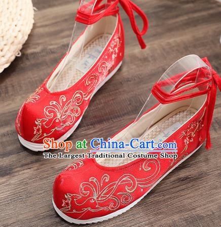 Traditional Chinese Embroidered Deer Red Shoes Handmade Cloth Shoes National Cloth Shoes for Women