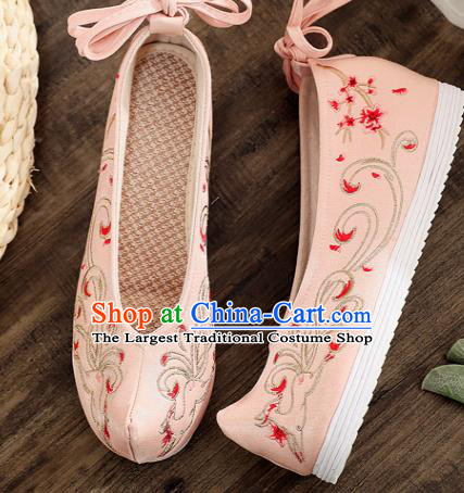 Traditional Chinese Embroidered Deer Pink Shoes Handmade Cloth Shoes National Cloth Shoes for Women