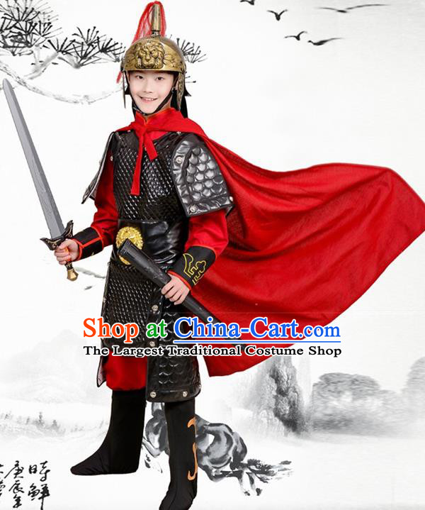Chinese Ancient General Black Helmet and Armour Traditional Han Dynasty Swordsman Costume for Kids