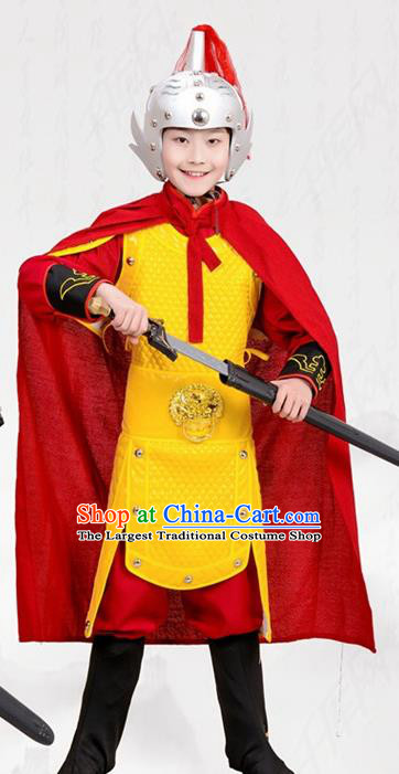 Chinese Ancient General Yellow Helmet and Armour Traditional Han Dynasty Swordsman Costume for Kids
