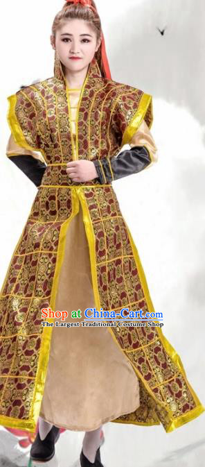 Chinese Ancient Traditional Northern and Southern Dynasties Female General Costume Helmet and Armour for Women