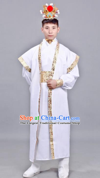 Chinese Ancient Drama Swordsman White Clothing Traditional Song Dynasty Scholar Costume for Men