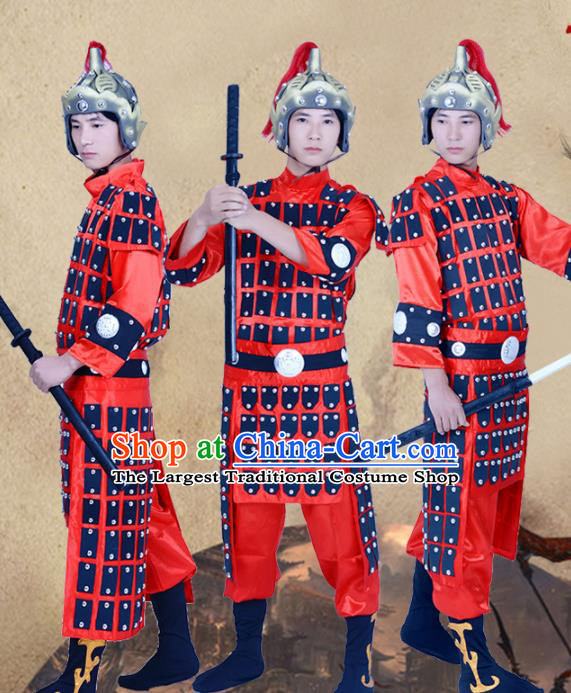 Chinese Ancient Traditional Tang Dynasty General Costume Red Helmet and Armour for Men