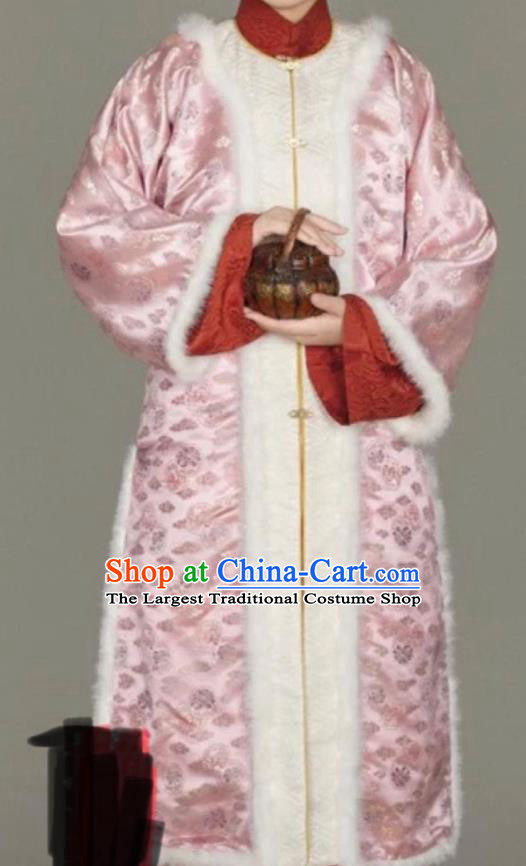 Chinese Ancient Nobility Lady Winter Pink Long Coat Traditional Ming Dynasty Queen Costume for Women