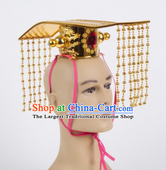Chinese Ancient King Golden Hairdo Crown Traditional Han Dynasty Emperor Headwear for Men