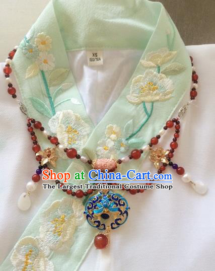 Chinese Ancient Princess Blueing Lotus Necklace Traditional Court Lady Jewelry Accessories for Women