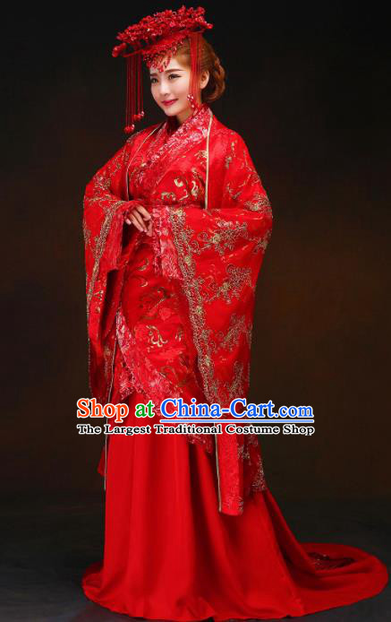 Chinese Ancient Bride Red Dress Traditional Han Dynasty Royal Empress Wedding Costumes and Headpiece for Women