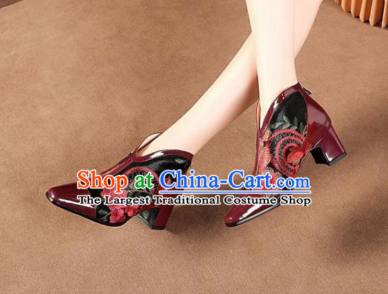Traditional Chinese Embroidered Flowers Wine Red Leather Shoes National High Heel Shoes for Women
