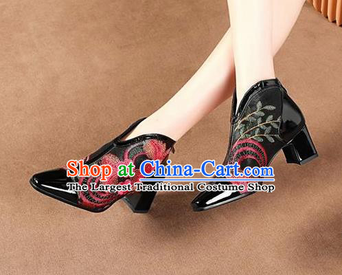 Traditional Chinese Embroidered Flowers Black Leather Shoes National High Heel Shoes for Women