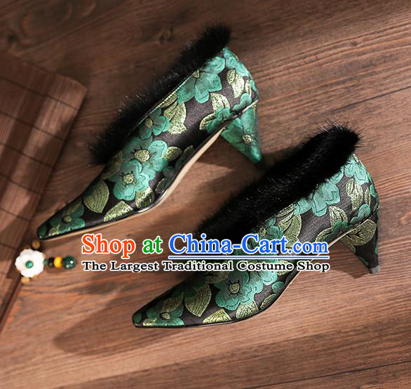 Traditional Chinese Embroidered Green Flowers Shoes National High Heel Shoes for Women