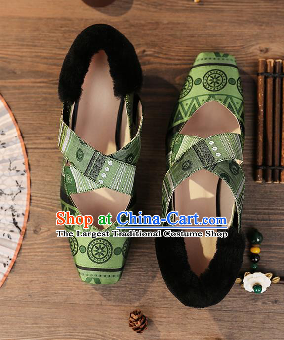 Traditional Chinese Handmade Green Satin Shoes National High Heel Shoes for Women