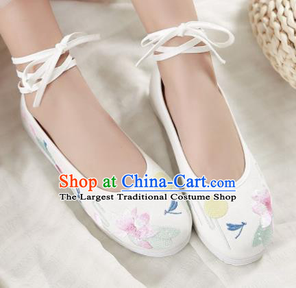 Traditional Chinese Handmade Embroidered Lotus White Shoes Hanfu Shoes National Cloth Shoes for Women