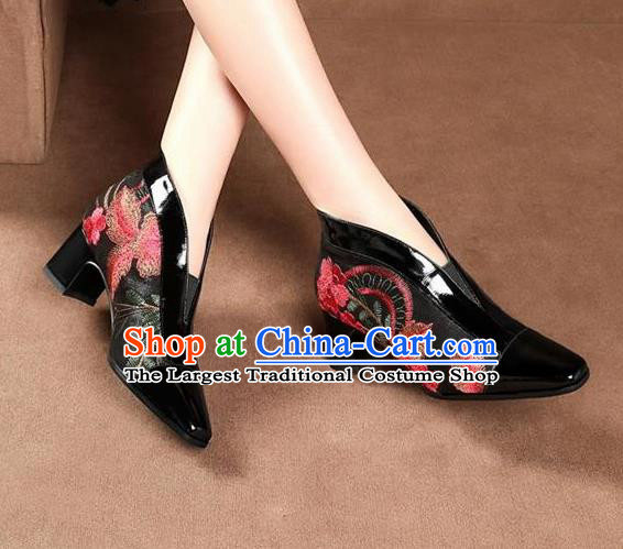 Traditional Chinese Embroidered Black Leather Shoes National High Heel Shoes for Women