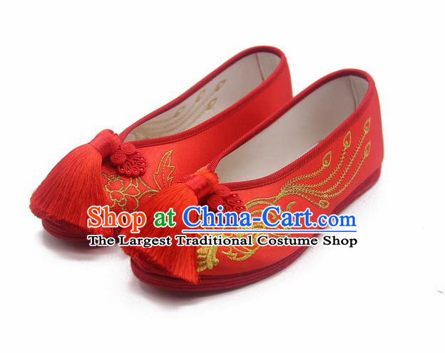 Traditional Chinese Embroidered Phoenix Red Shoes Handmade Hanfu Wedding Shoes National Cloth Shoes for Women