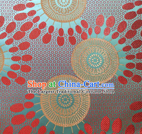 Asian Japan Traditional Sunflowers Pattern Design Green Brocade Damask Fabric Kimono Satin Material