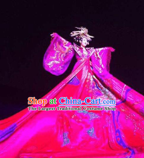 Chinese Legend Dance Purple Dress Stage Performance Goddess Costume and Headpiece for Women