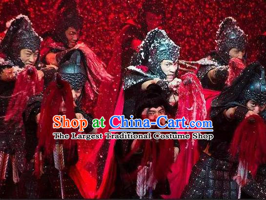 Chinese The Romantic Show of Songcheng Military General Stage Performance Dance Armor Costume for Men