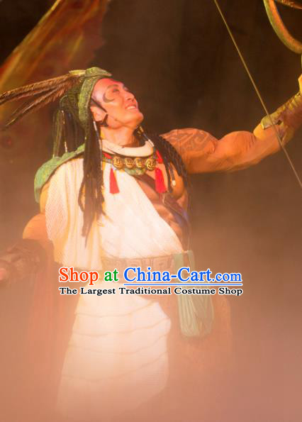 Chinese Chang E The Goddess of The Moon Primitive Tribe HouYi Stage Performance Dance Costume for Men