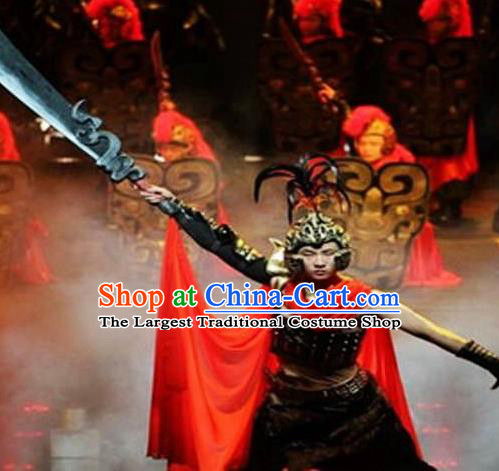 Chinese Chinese The Mystery Show of Huizhou Ancient General Armor Stage Performance Dance Costume for Men
