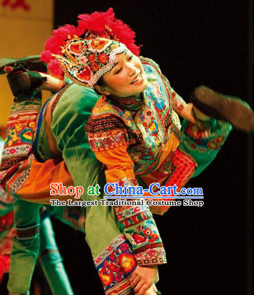 Chinese Dynamic Yunnan Bai Nationality Dance Dress Stage Performance Ethnic Costume for Women