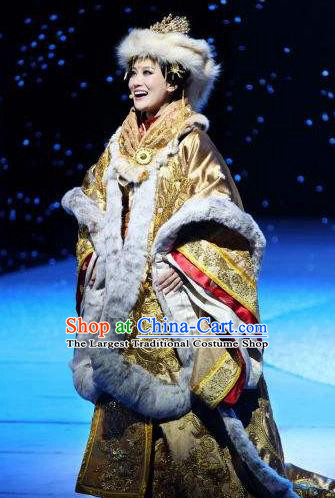 Chinese Princess Wencheng Ancient Drama Dance Winter Dress Stage Performance Costume and Headpiece for Women