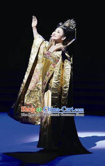 Chinese Princess Wencheng Ancient Drama Dance Golden Dress Stage Performance Costume and Headpiece for Women