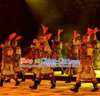 Chinese Chang An Impression Ancient Tang Dynasty General Armor Stage Performance Dance Costume for Men