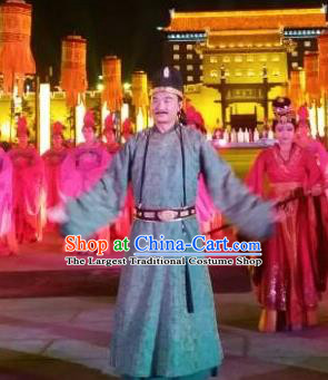 Chinese Chang An Impression Ancient Tang Dynasty Minister Stage Performance Dance Costume for Men