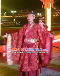 Chinese Chang An Impression Ancient Tang Dynasty Minister Stage Performance Dance Red Costume for Men