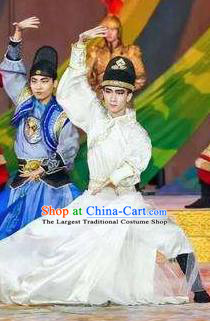 Chinese Chang An Impression Ancient Tang Dynasty Swordsman Stage Performance White Costume for Men