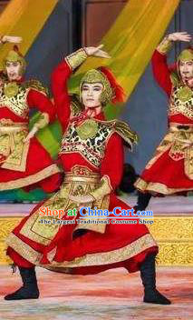 Chinese Chang An Impression Ancient Tang Dynasty General Armor Stage Performance White Costume for Men