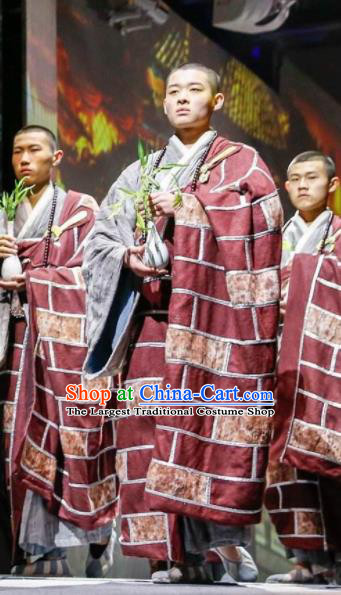 Chinese Dharma Legends in Famen Temple Ancient Tang Dynasty Monk Cassock Stage Performance Costume for Men