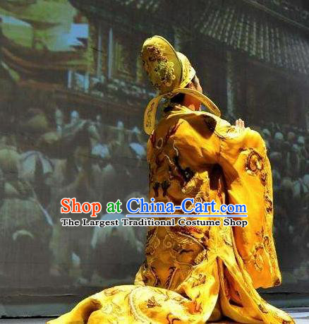 Chinese Dharma Legends in Famen Temple Ancient Tang Dynasty Emperor Stage Performance Costume for Men