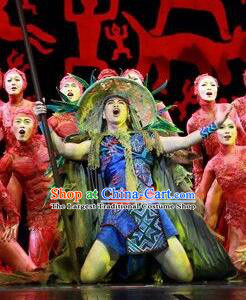 Chinese The Ship Legend of Huashan Zhuang Nationality Stage Performance Dance Costume for Men
