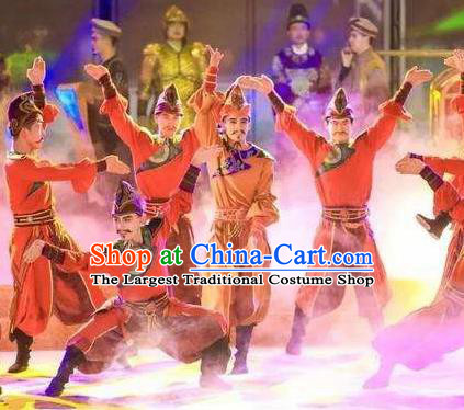 Chinese Chang An Impression Ancient Tang Dynasty Ethnic Stage Performance Costume for Men