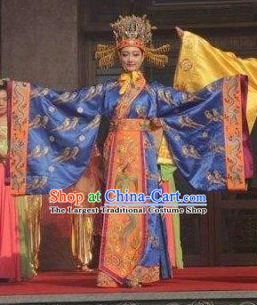 Chinese Back to Song Dynasty Queen Empress Dance Dress Stage Performance Costume and Headpiece for Women