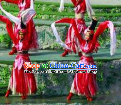 Chinese Road Solutions Dujiangyan Classical Dance Water Sleeve Dress Stage Performance Costume and Headpiece for Women