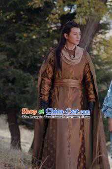 Drama Ever Night Chinese Ancient Prince Brown Hanfu Clothing Traditional Tang Dynasty Swordsman Costumes for Men
