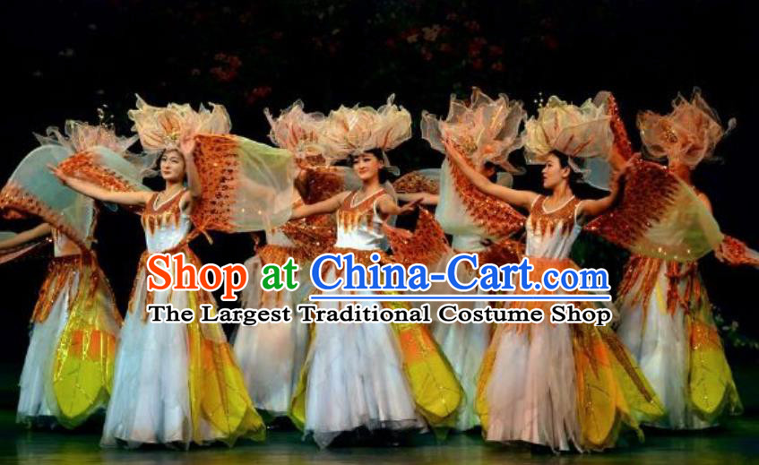 Chinese Lishui Jinsha Classical Dance White Dress Stage Performance Costume and Headpiece for Women