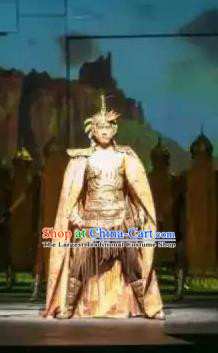 Chinese Shapotou Celebration Han Dynasty General Armor Stage Performance Dance Costume for Men