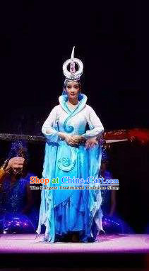 Chinese Shapotou Celebration Hui Nationality Dance Blue Dress Ethnic Stage Performance Costume and Headpiece for Women