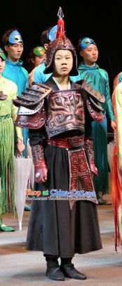 Chinese Shapotou Celebration Han Dynasty General Body Armor Stage Performance Dance Costume for Men