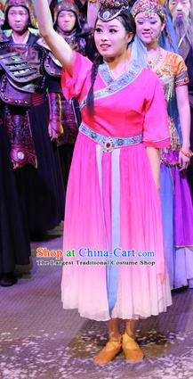 Chinese Shapotou Celebration Hui Nationality Dance Rosy Dress Ethnic Stage Performance Costume and Headpiece for Women