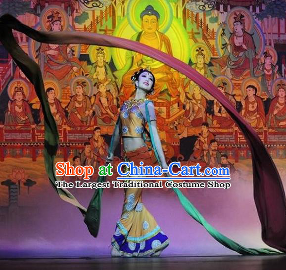 Chinese Encore Dunhuang Classical Dance Dress Stage Performance Costume and Headpiece for Women