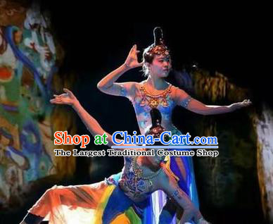 Chinese Encore Dunhuang Classical Dance Blue Dress Stage Performance Costume and Headpiece for Women